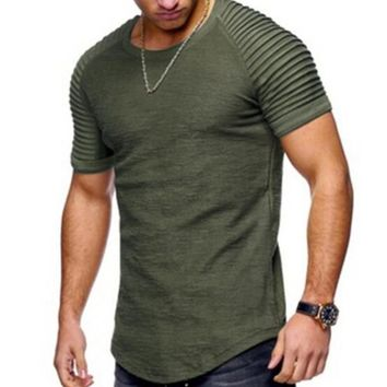 Men's Short Sleeve O-neck Fold Shoulder Side Zipper T-shirts Men Casual Tee Tops Pure Color Hip hop Street Wear tshirt man 2018