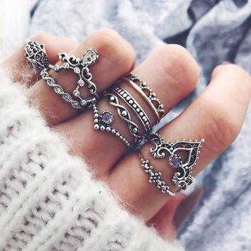 Bohemian Fatima Hand Crown Hollow Caved Geometric Joint Knuckle Rings