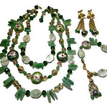 Vendome Tassel Jade Necklace Bracelet and Earrings Set Pink Floral Cloisonne Crystal and Rhinestone Beads Signed