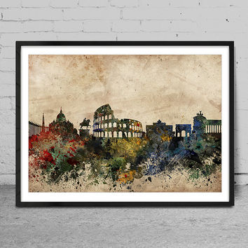 Rome skyline, rome italy print, Rome abstract, Rome Art Poster, Wall Art, Rome Decor, Cityspace Poster Print -x69