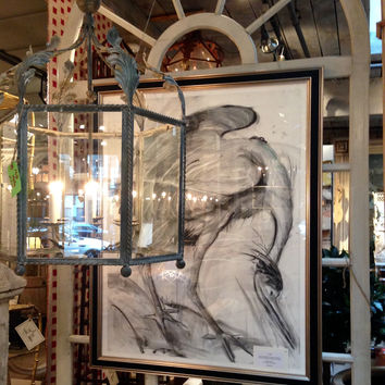 Framed Charcoal Drawing From Bird Series by Marianne Stikas