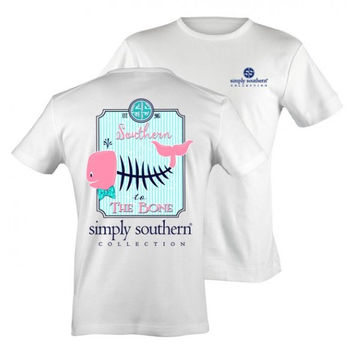 Simply Southern Southern to the Bone Whale Fish Bow Girlie Bright T Shirt