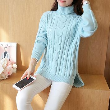 autumn winter high collar sweater women loose large size turtleneck thick pullover feminine pull femme