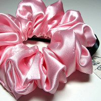 Pink Satin Scrunchie Gentle Hair Accessory by Just Scrunchies