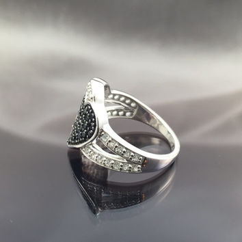Double heart sterling silver/cz ring