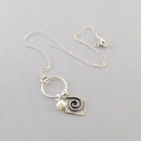 Sterling Silver With Sterling Silver Oxidized Swirl And White Freshwater Pearl Necklace