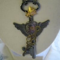 Steampunk Flying Key Necklace