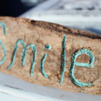 Smile Driftwood Sign , coastal Home Decor , Beach Decoration