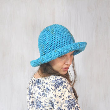 Turquoise Hat, Women's Brimmed Hat, Yarn Crochet Hat, Floppy Hat, Woman's Fedora Hat, Flatter Hat, Autumn Winter Hat, Cap, OOAK
