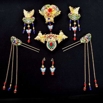 Vintage Chinese Classical Wedding Bridal Headpieces and Jewelry Set