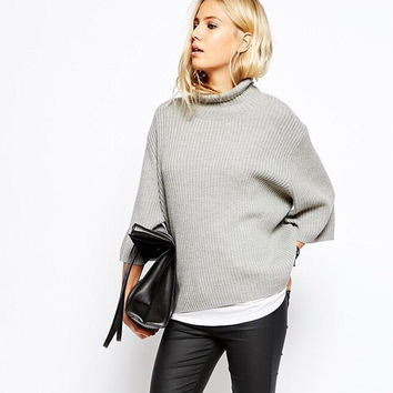 Fall Winter Three-quarter Sleeve Stylish Knit Sweater [9068277060]
