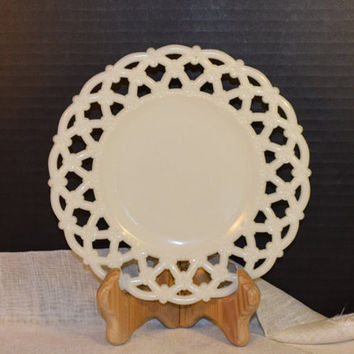Westmoreland Open Lattice Milk White Salad Plate Vintage Forget Me Not Lace Border Salad Plate White Milk Glass Wedding Plate Decor