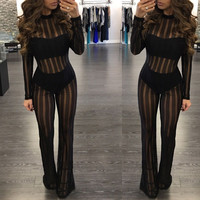 European station mesh rompers women jumpsuit black sexy jumpsuit women bodysuit overalls BJ1037