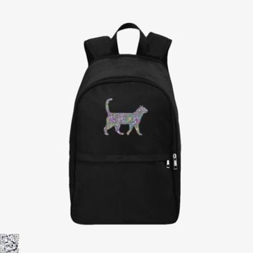 Rainbow Floral Cat, Cat Backpack