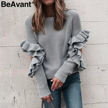 BeAvant Cut out sleeve knitted ruffle sweater female O neck women pullover winter sweater Pull femme loose casual jumper 2018