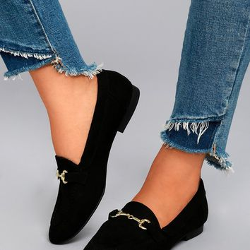 Molly Lynn Black Suede Loafers
