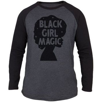 DCCKU3R Black History Month Black Girl Magic Afro Adult Long Sleeve Raglan T-Shirt