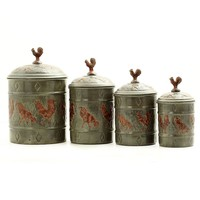 Old Dutch Country Rooster 4-pc. Canister Set (Grey/Brown)