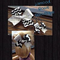 Black and White Chevron Cheer Style Bow and Matching Doll Bow Set