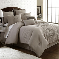 Marilyn Embellished Taupe 8-Piece Comforter Set Queen Taupe