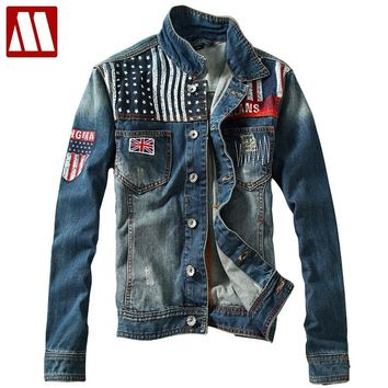 Mens Denim Jacket Men 2018 Distressed jackets Denim Biker Jeans Coat America flag Washed Stitching Contrast Color jacket S-XXL