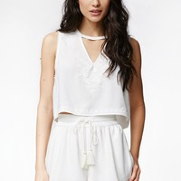 Kendall & Kylie Lace Inset Tank - Womens Shirts - White
