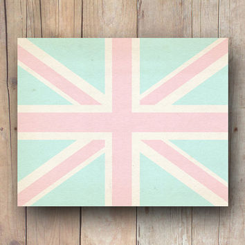 Aqua Union Jack print, British flag printable art, printable dorm wall art, aqua pink nursery printable wall art printable download