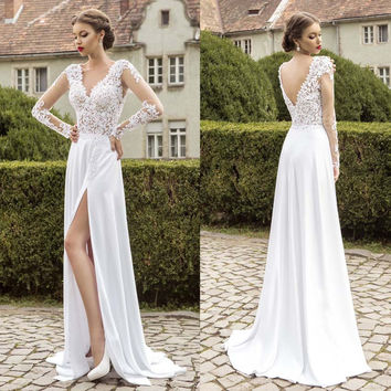 Romantic Lace Full Sleeve Beach Wedding Dresses Bridal Gowns Dess V-neck Chiffon Side Split Open Back Vestido De Noiva