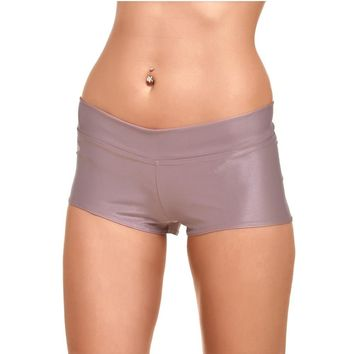 JIGERJOGER 2016 Khaki Metallic Women's Yoga Shorts Sporty Running workout short outfits Glossy Wet Look Shiny bottom underwear