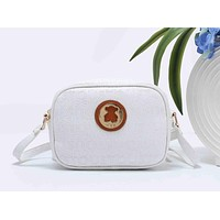 Tous Popular Women Letter Print Leather Crossbody Satchel Shoulder Bag White I-XS-PJ-BB