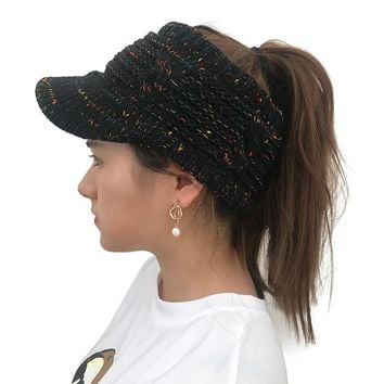 BeanieTail Warm Knit Messy High Bun Ponytail Visor Beanie Cap