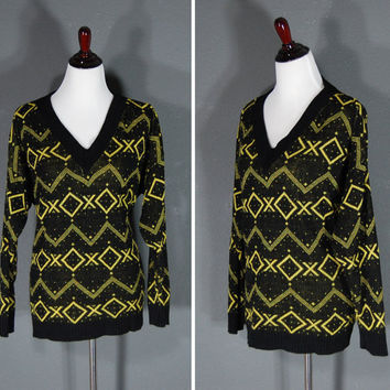 Vintage Oversized Sweater / Geometric Pattern / Plus Sized / Black Yellow / 1980's