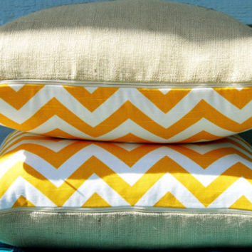 "Decorative Pillow Cover 20"" x 20"" Lake House SET- burlap and sunny yellow chevron modern print"
