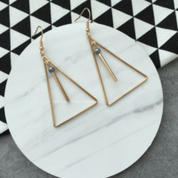 Retro Minimalist Geometric Wooden Triangular Hollow Metal Long Earrings