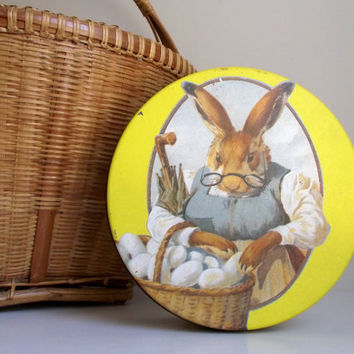 Easter Rabbit Tin / Decorative Vintage Metal Tin / Valleybrook Farms Easter Bunny Cookie Tin / Decorative Use Only