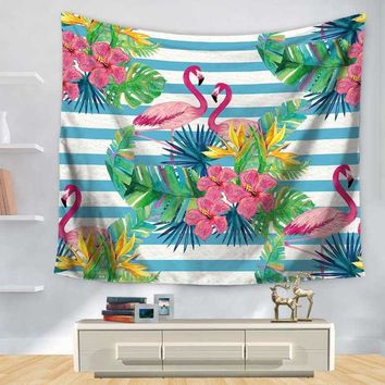 Stripe Floral Flamingo Tapestry