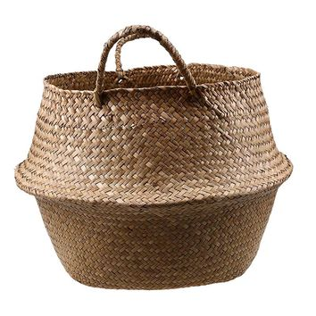 WHISM Rattan Storage Basket Laundry Straw Seagrass Belly Handmade Wicker Organizer Garden Flower Planter Nursery Pots Handle Bag