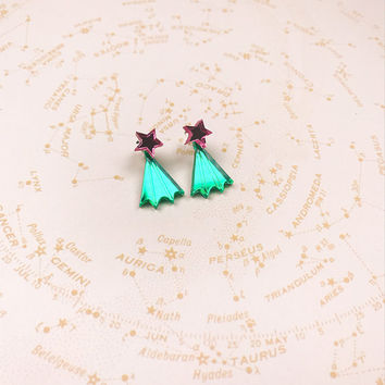 Star Ear Jacket earrings with sterling silver post and scroll - celestial earrings - star studs - acrylic studs - mirror studs