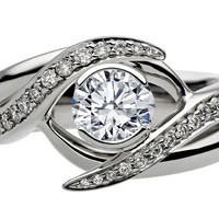 Engagement Ring - Entwined Bridal Set: Engagement Ring & Matching Wedding Ring in 14K White Gold - ES1139