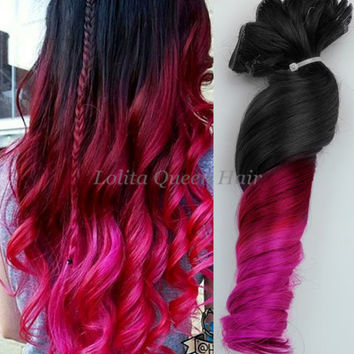 Pink Hair Extensions, Black to Red Ombre Colorful Mermaid Indian Remy Full Set Clip in Hair Extensions,Pink wigs, Dip Dye hair,Hippie Hair