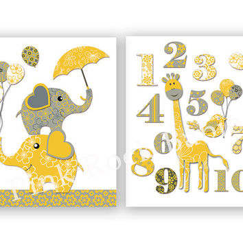 Neutral nursery wall decor elephant poster nursery giraffe baby room numbers decoration playroom wall art baby boy room artwork yellow grey