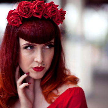Ladies/girls Red Faux Rose Flower Crown Lana Del Rey Pin Up Hair band