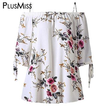 PlusMiss Plus Size 5XL Off Shoulder Top Women Clothes Boho Floral Print Summer Chiffon Blouse 2018 Loose White Blusas Big Size