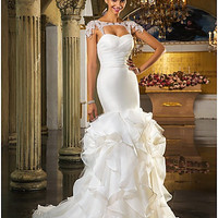 Trumpet/Mermaid Sweetheart Sweep/Brush Train And Organza And Tulle Wedding Dress(519036) #00519036