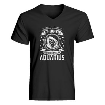 Mens Aquarius Astrology Zodiac Sign Vneck T-shirt