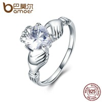 BAMOER Elegant 925 Sterling Silver Love Hand with Forever Heart Finger Ring for Women Engagement Ring Wedding Jewelry SCR046