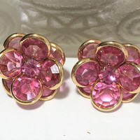 Pink Austrian Crystal Rhinestone Earrings Floral Design, Gold Tone Clip On Style, Vintage Jewelry 618m