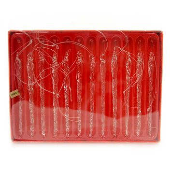Holiday Ornaments CLEAR TWIST ICICLE 12 PC SET Glass Shimmering B1814