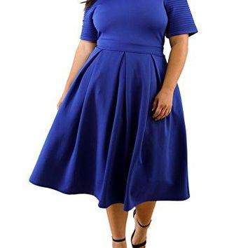 Lalagen Womens Plus Size 1950s Vintage Cocktail Dresses Flare Swing Midi Dress Blue XXXL