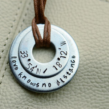 Love Knows No Distance Latitude/Longitude Keychain - Long Distance Relationship / Military / Deployment